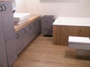 Eiken vloer in badkamer